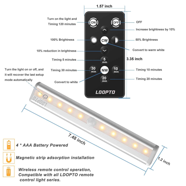 Lampe de Placard//Armoire,LDOPTO Veilleuse LED Lampe /à Led sans fils Luminosit/é R/églable Pour Cuisine 3 Pack Aliment/é par Batterie non inclus avec T/él/écommande et Interrupteur tactile Chambre