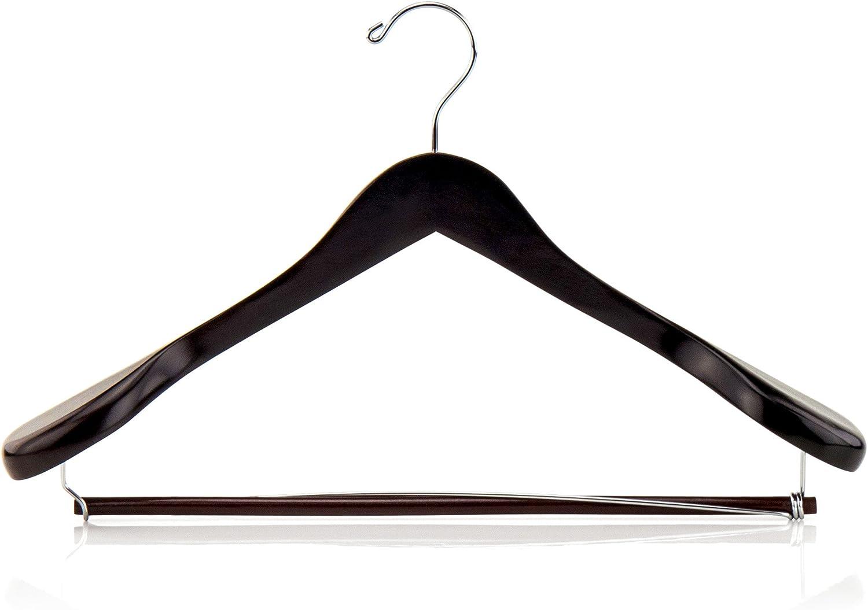 HANGERWORLD 45cm Premium Mahogany Wooden Broad Bulbous Ended Suit Clothes Coat Hanger with Chrome Trouser Bar