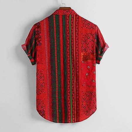 Camisa Manga Corta Hombre Hawaiana Casual Étnico Vintage Estampado Hawaii Camisas Cuello Vuelto Botones Camisetas Blusa Polos Shirt Bolsillo Playa Ropa