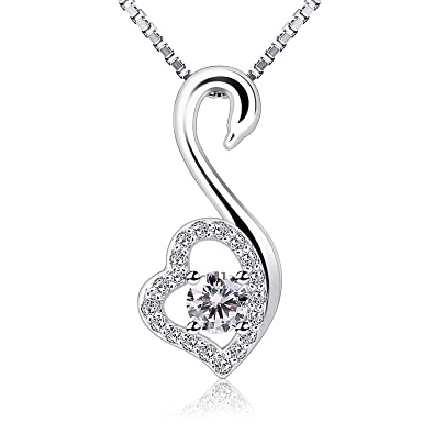 4b15cb2f3f2c Amazon.com  B.Catcher Necklace Women 925 Sterling Silver Pendent Swan-Shaped  for Her with Gift Box  Jewelry