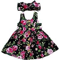 douleway 2 Parça Çiçek Baskılı Kolsuz bebek kız elbiseleri kafa bandı ile yaz plaj deniz elbiseleri