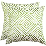 Safavieh Pillow Collection 20-Inch, Diamonds Five Sweet Green & Cream, Indoor/Outdoor Throw Pillows (Set of 2)