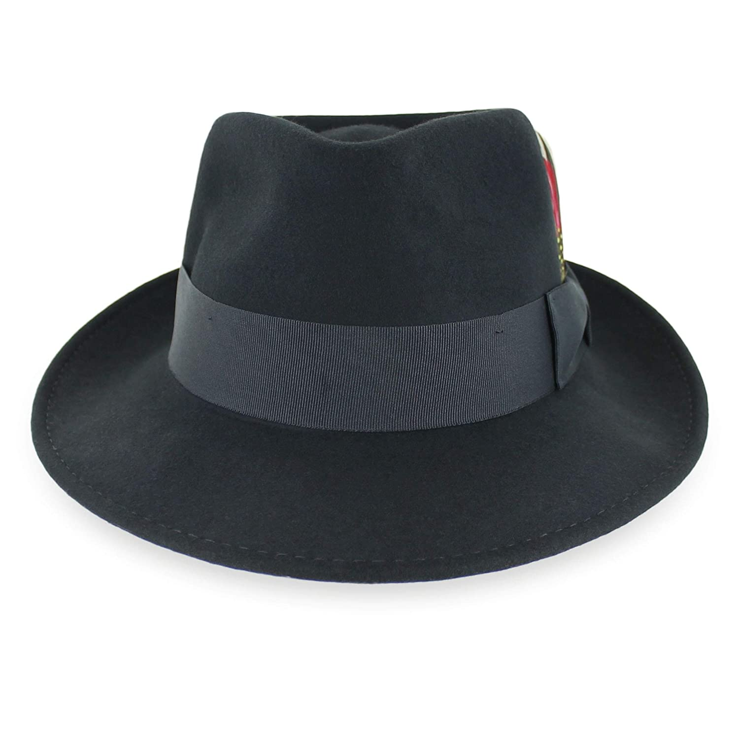 Belfry Gangster 100% Wool Stain Resistant Crushable Dress Fedora in Black  Grey Navy Brown Pecan at Amazon Men s Clothing store  23f2f878e34