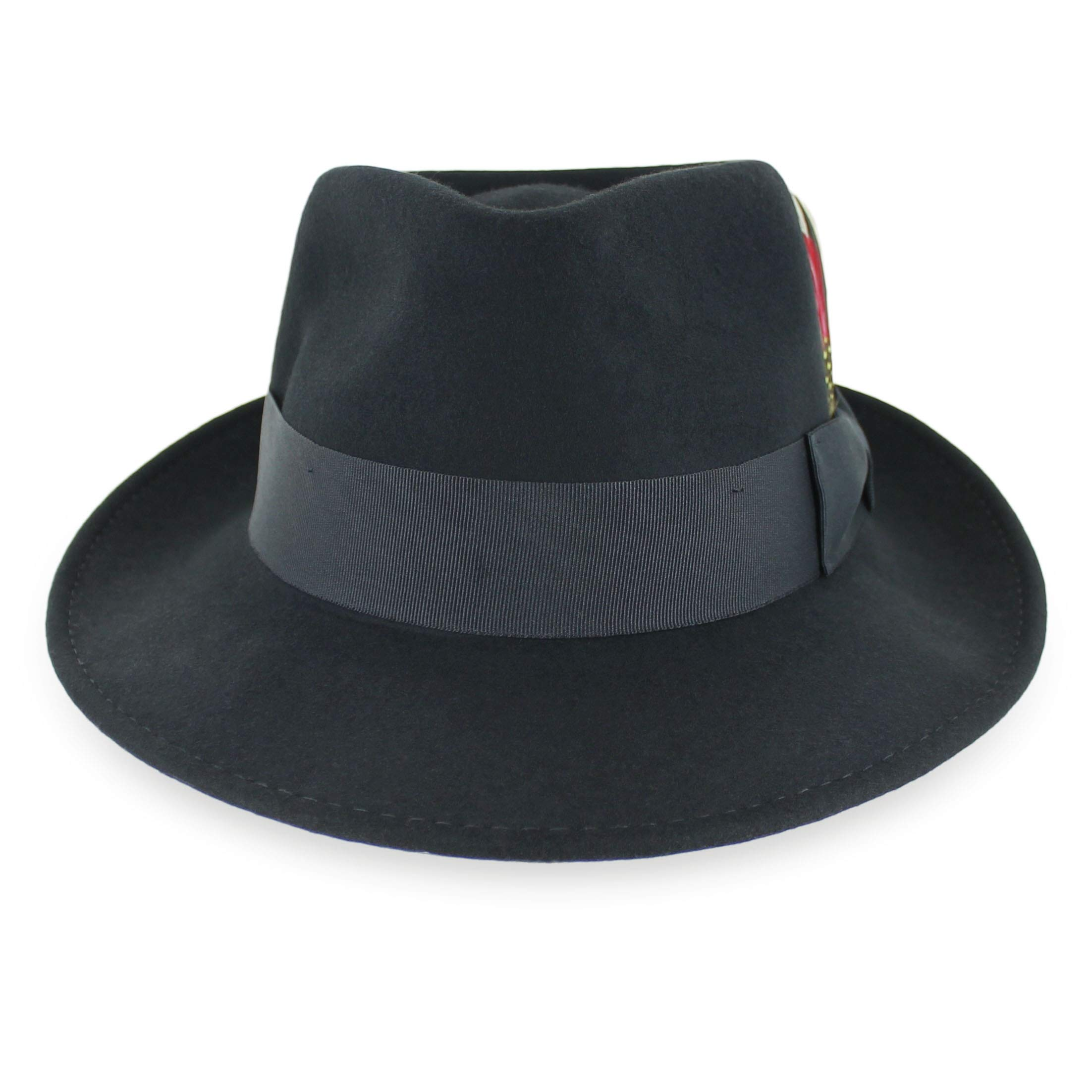 1e64b56195df9 Belfry Gangster 100% Wool Stain Resistant Crushable Dress Fedora in Black  Grey Navy Brown Pecan