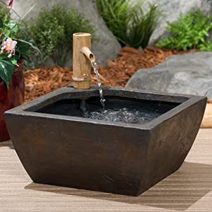 Aquascape Aquatic Patio Pond Kit Container Water Garden Includes Bamboo Fountain and Pump