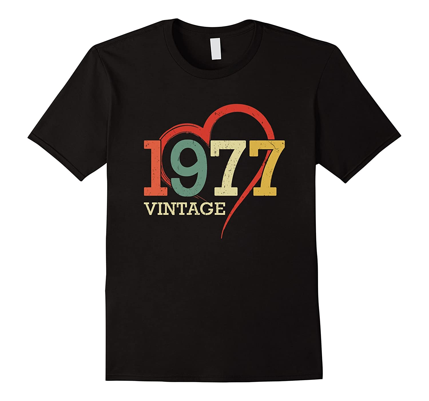 Funny Vintage heart Made In 1977 T Shirt 40th Birthday Gift-BN
