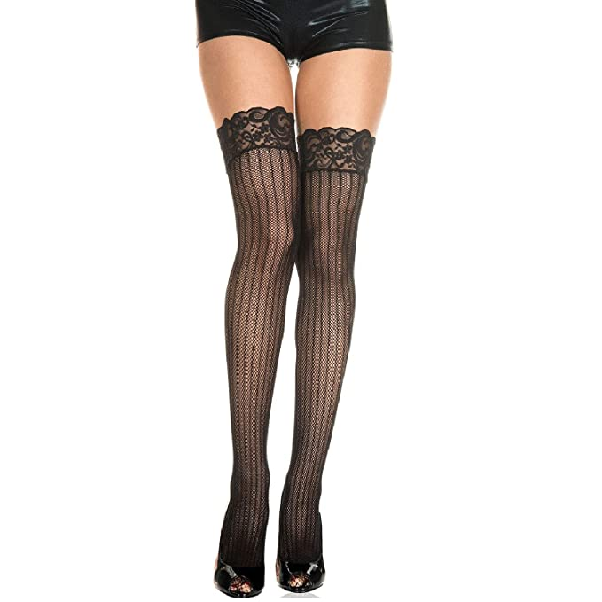 3f4a67293 Image Unavailable. Image not available for. Color  Music Legs Fishnet Thigh  Highs with Vertical Stripes ...