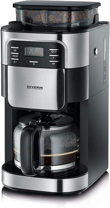 SEVERIN KA 4810 Cafetera automática con Molinillo para Café Molido o en grano temporizador desconexión automática 10 tazas acero inoxidable/negro: Amazon.es: Hogar