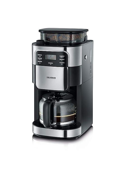 SEVERIN KA 4810 Cafetera automática con Molinillo para Café Molido o en grano temporizador desconexión automática 10 tazas acero inoxidable/negro