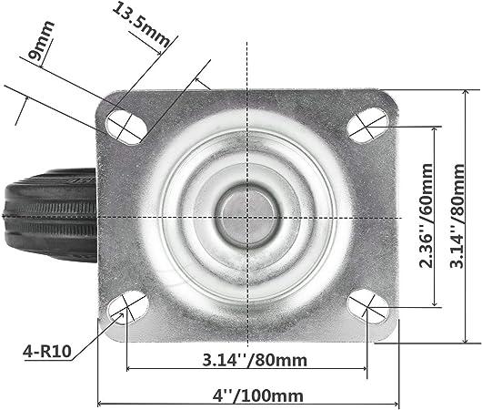 Color Negro 2 /× Freno YeMI castor Ruedas giratorias de Goma de 100mm para Muebles 4 Inch,100MM 2 /× Giratorio 10,16 cm