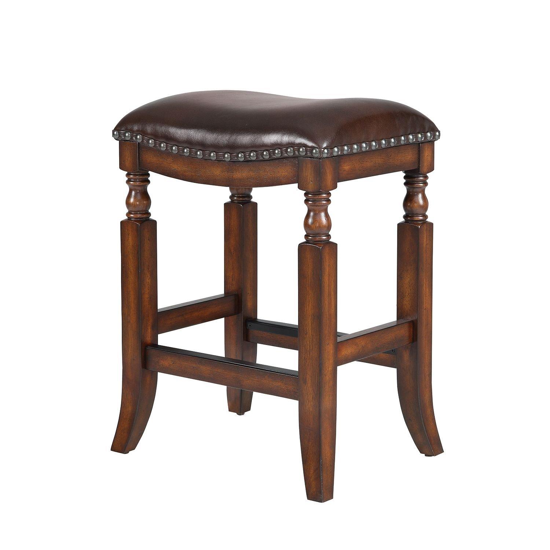Attirant Amazon.com: Ashton Top Grain Leather Seat Bar Stool, Walnut Finish: Kitchen  U0026 Dining