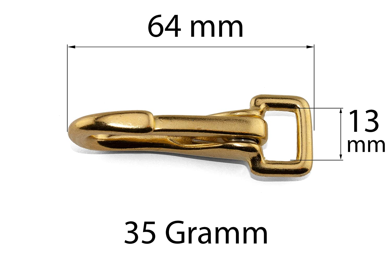 gerader Wirbel x 65 mm Gr/ö/ße: 25 mm Messing 1 1x Gro/ßer Zaumkarabiner