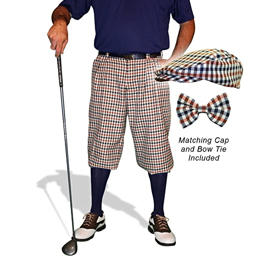 Men's Vintage Style Pants, Trousers, Jeans, Overalls Plaid Golf Knickers & Cap: Mens Par 5 - Saratoga $189.95 AT vintagedancer.com