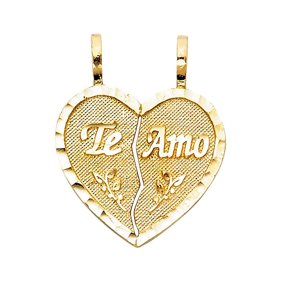 TGDJ 14K Yellow Gold Teamo Heart 2 Piece Pendant Height 18 MM Width 18 MM