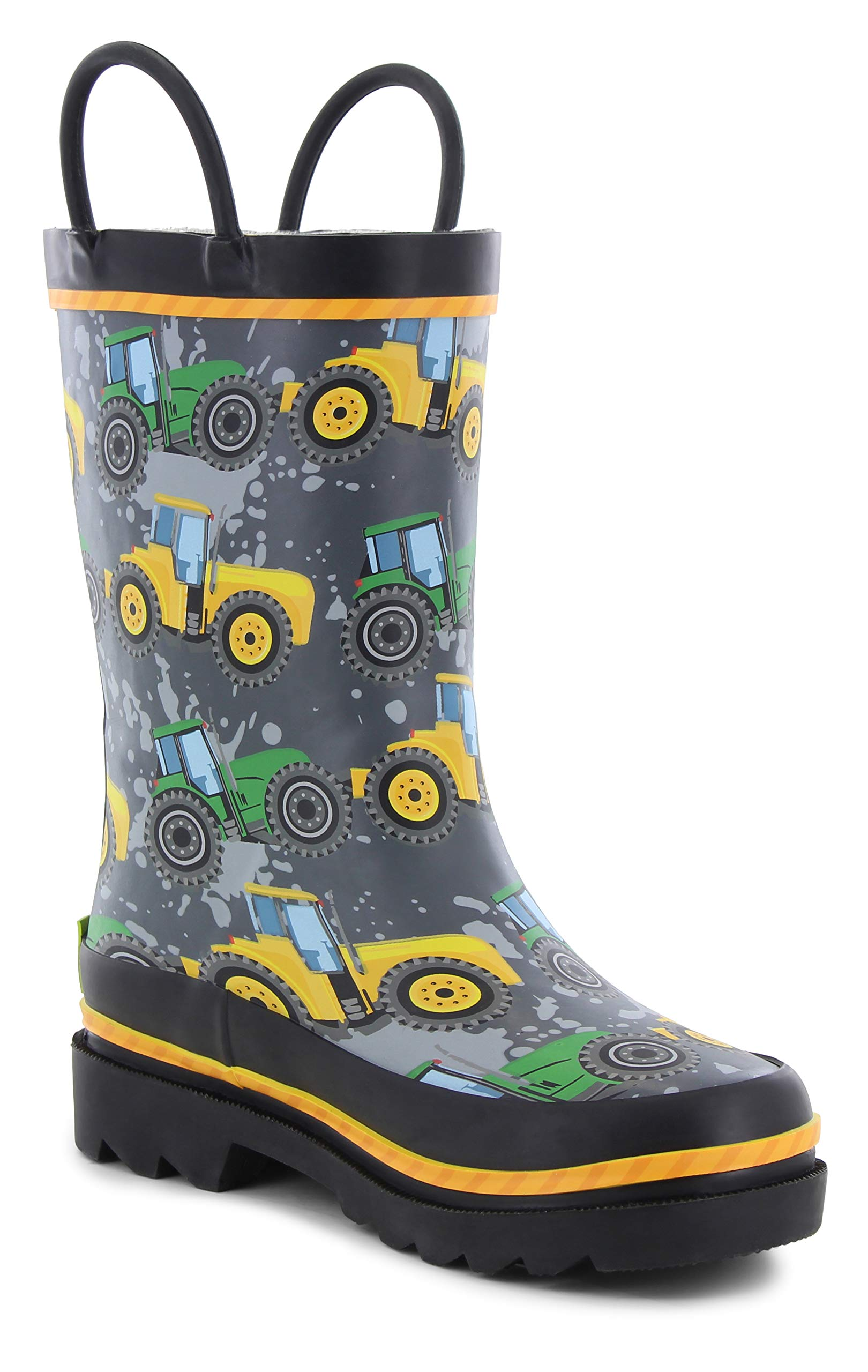 Western Chief Kids Waterproof Printed Rain Boot with Easy Pull On Handles, Tractor Tough, 9 M US Toddler