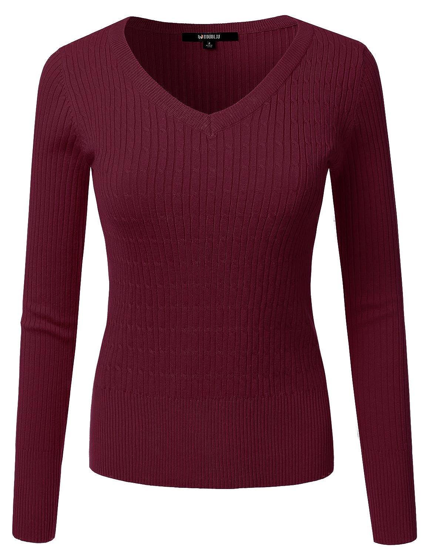 Awoswl0226_burgundy Doublju Slim Fit Twisted Cable Knit VNeck Sweater For Women