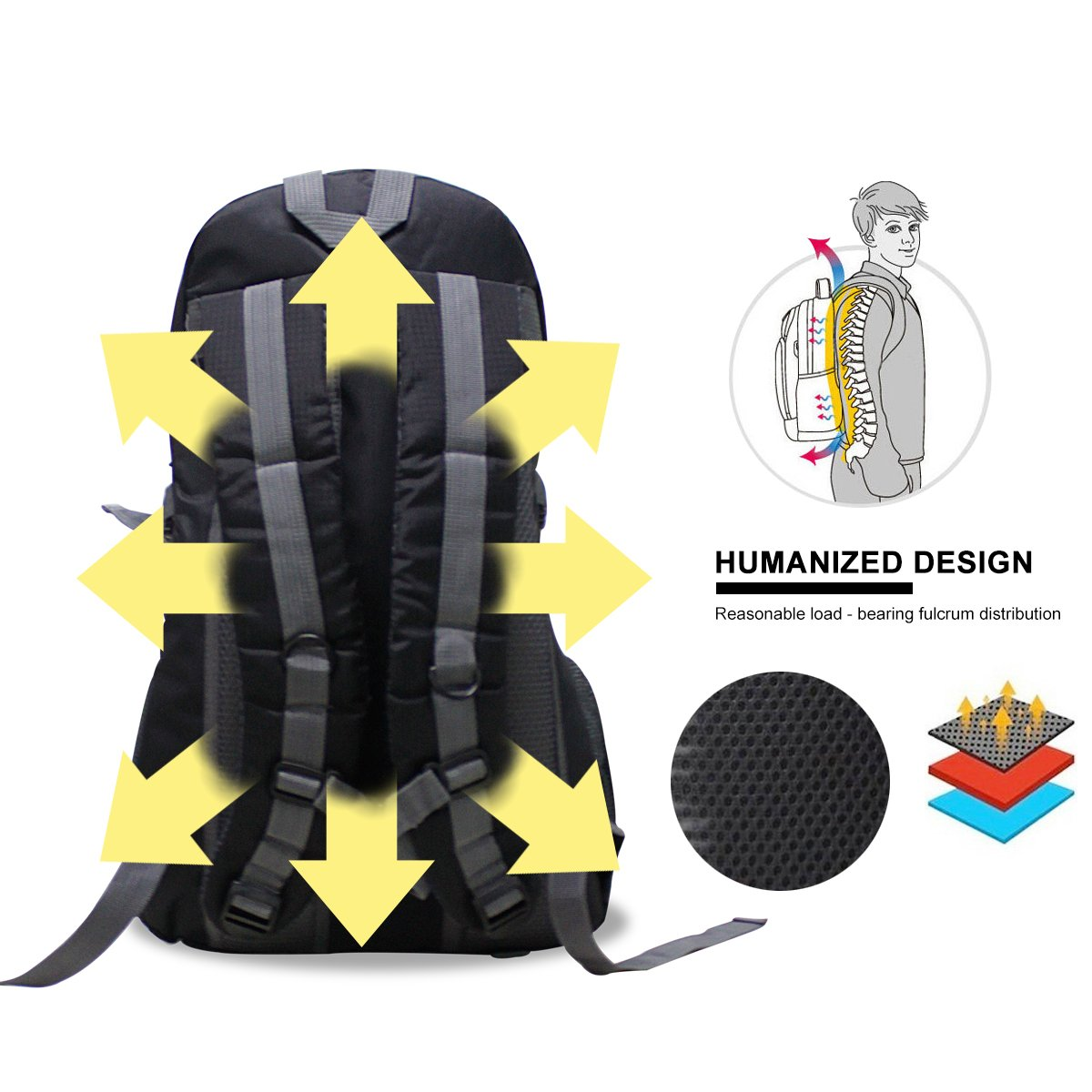 Baishiqi 40L Lightweight Hiking Backpack, Multi-functional Water-resistant  Casual Camping Trekking Rucksack for Cycling Travel Climbing Mountaineer