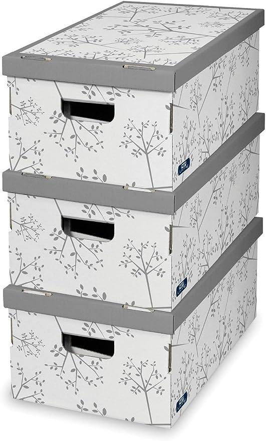 3 grandes cajas de almacenamiento decorativo, dormitorio, oficina armario caja de almacenaje: Amazon.es: Hogar