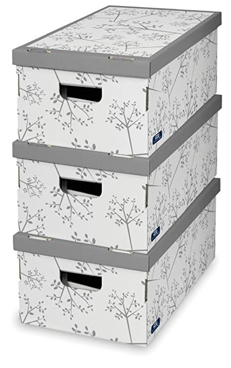 Ordinaire 3PC LARGE DECORATIVE STORAGE BOXES BEDROOM OFFICE WARDROBE UNDERBED BOX