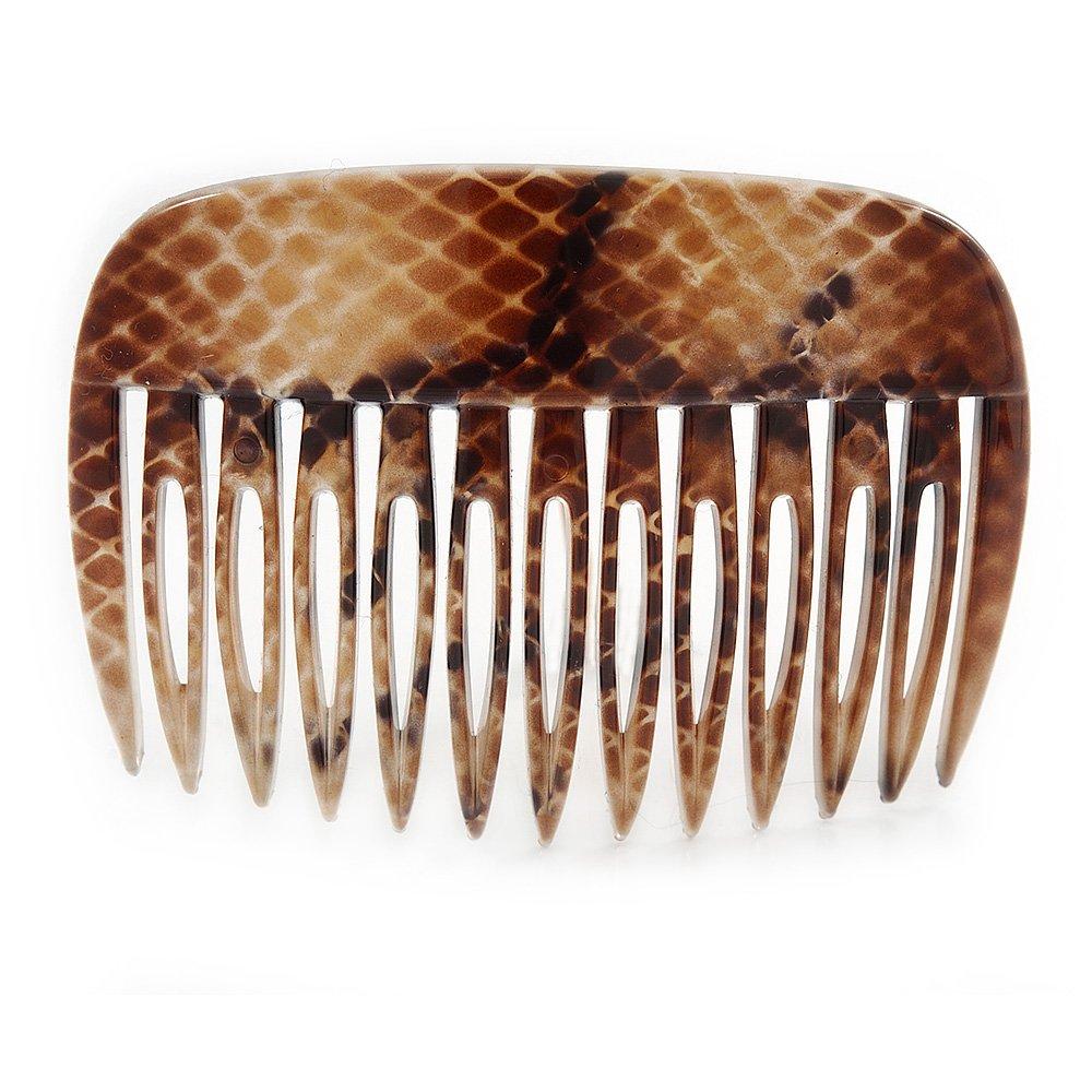 /75/mm Serpent Impression acrylique poli Peigne /à cheveux / Marron//beige