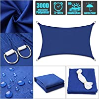 Waterproof Sun Shade Sail Rectangle Sand Sunshade Canopy 300D Oxford Cloth UV Block Awning for Outdoor Patio Garden Backyard (Color : Blue, Size : 2x2m (6.5x6.5ft))