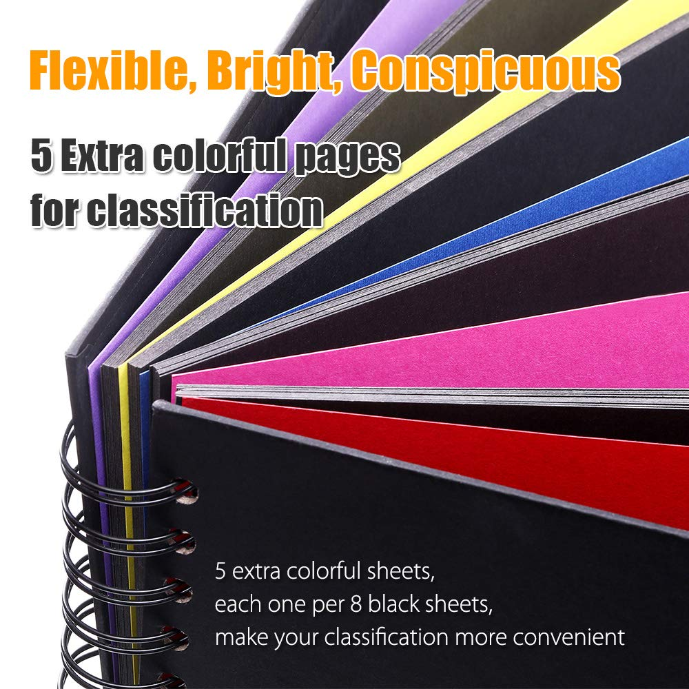 Casaon 70 Pages Vintage Photo Album, Leather Photo Scrapbook DIY Album for Anniversary Birthday Wedding Travel Graduation with Pen & Photo Corners, 35 Black & 5 Colorful Sheets for Classification