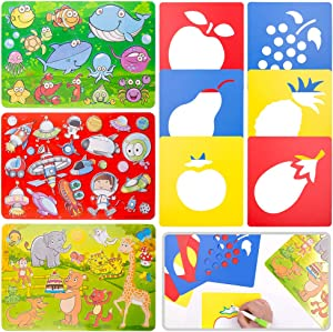 DailyTreasures 9Pack Drawing Stencils Set for Kids, 59 Shapes Painting Stencil Templates-Washable & Reusable Lightweight Plastic Stencils for Girls Boys Toddlers School Project Education Toy DIY Kit