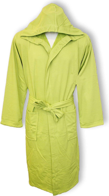Albornoz hombre mujer con capucha Perlarara talla S - M - L - XL - XXL novedad algodón rizo tejido lacoste ahorra espacio M/L - 46/50 Verde: Amazon.es: Hogar