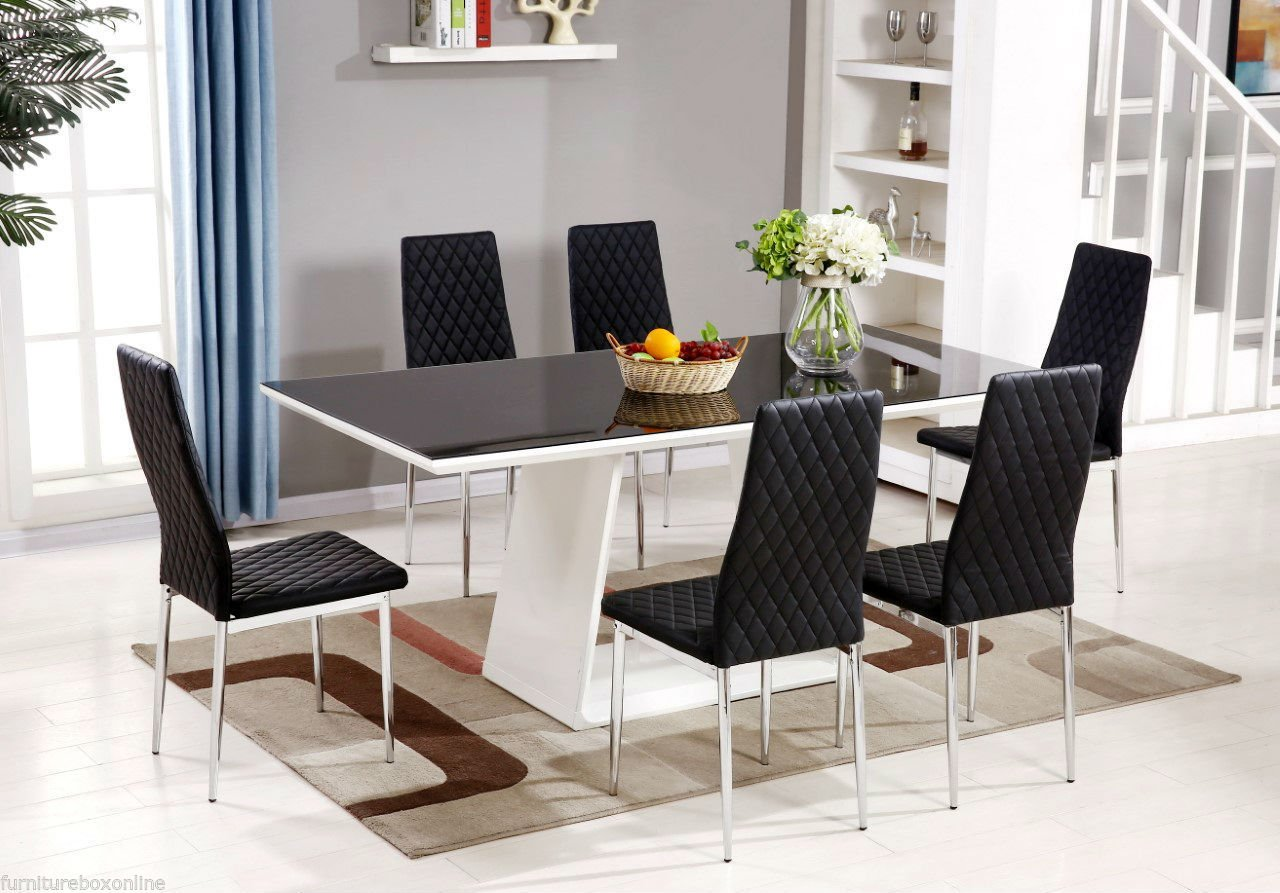 FurnitureboxUKR MURANO Black White High Gloss Glass Dining Table Set And 6 Leather Chairs Seater Only Amazoncouk Kitchen Home