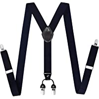 Mens Adjustable Suspenders Braces – Y Shape Elastic Belt with Sturdy Metal 4 Clips, Great for Any Trouser, Jeans, Short