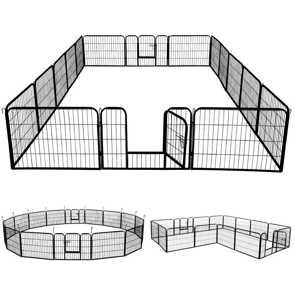 go2buy 16 Panels Dog Playpen Metal Pet Puppy Cat Exercise Fence Barrier 24-inch Tall by go2buy