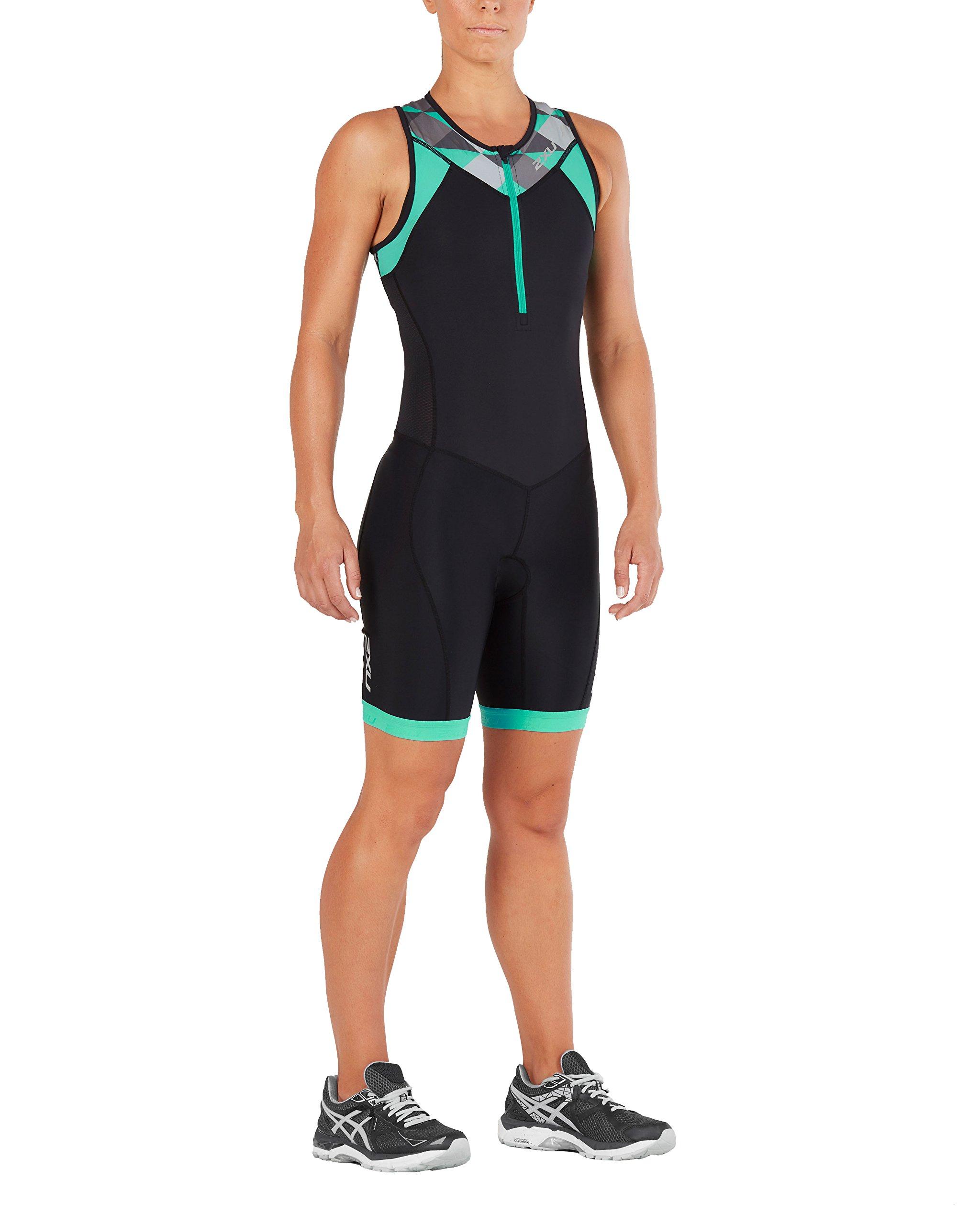 2XU Womens Active Trisuit, Black/Retro Tri Aqua Green, Large