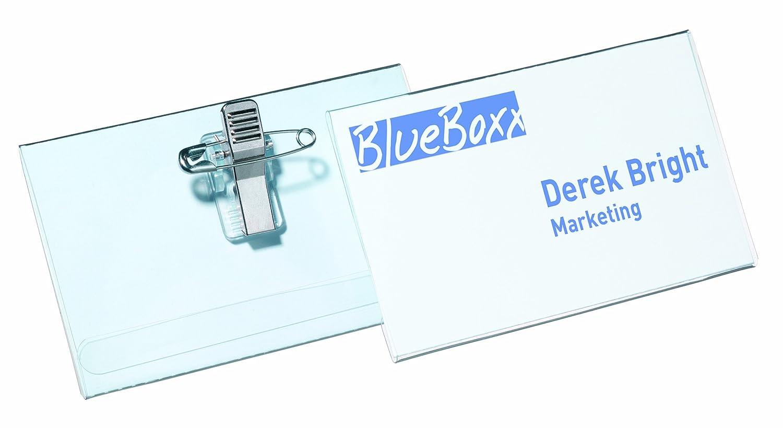 DURABLE 814519 - Portanome Economy, con combi clip, spilla e clip a coccodrillo, 54x90 mm, trasparente, confezione da 50 pezzi