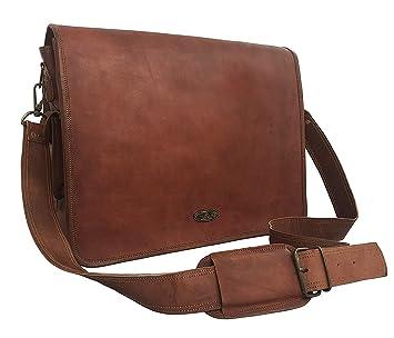 456f5813b8ba Cuero 16 Inch Retro Buffalo Hunter Leather Laptop Messenger Bag Office  Briefcase College Bag (dark brown)