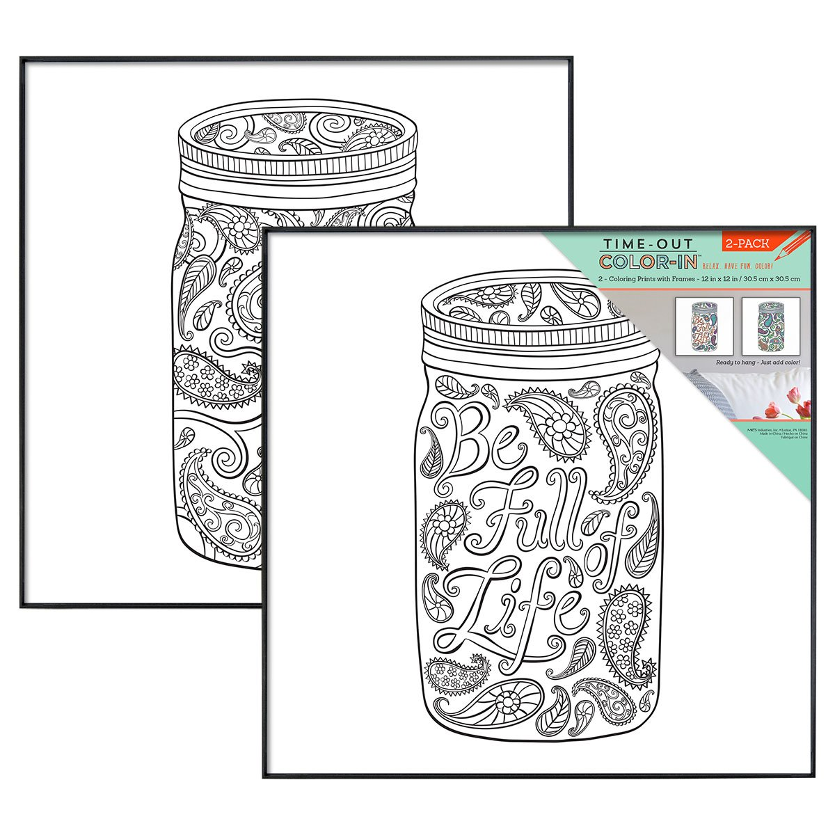 Mcs Time Out Color In 12x12 Inch Framed Adult Coloring Page With Mason Jar Designs 2 Pack Black 65626