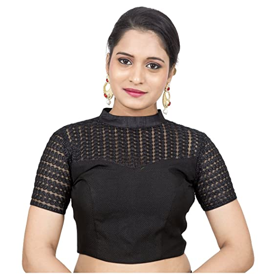 eae9aa207d3dcb Rinkoo Women s Jute Silk Stand Collar Net Short Sleeves Princess Cut Back  Open Padded Stitched Saree