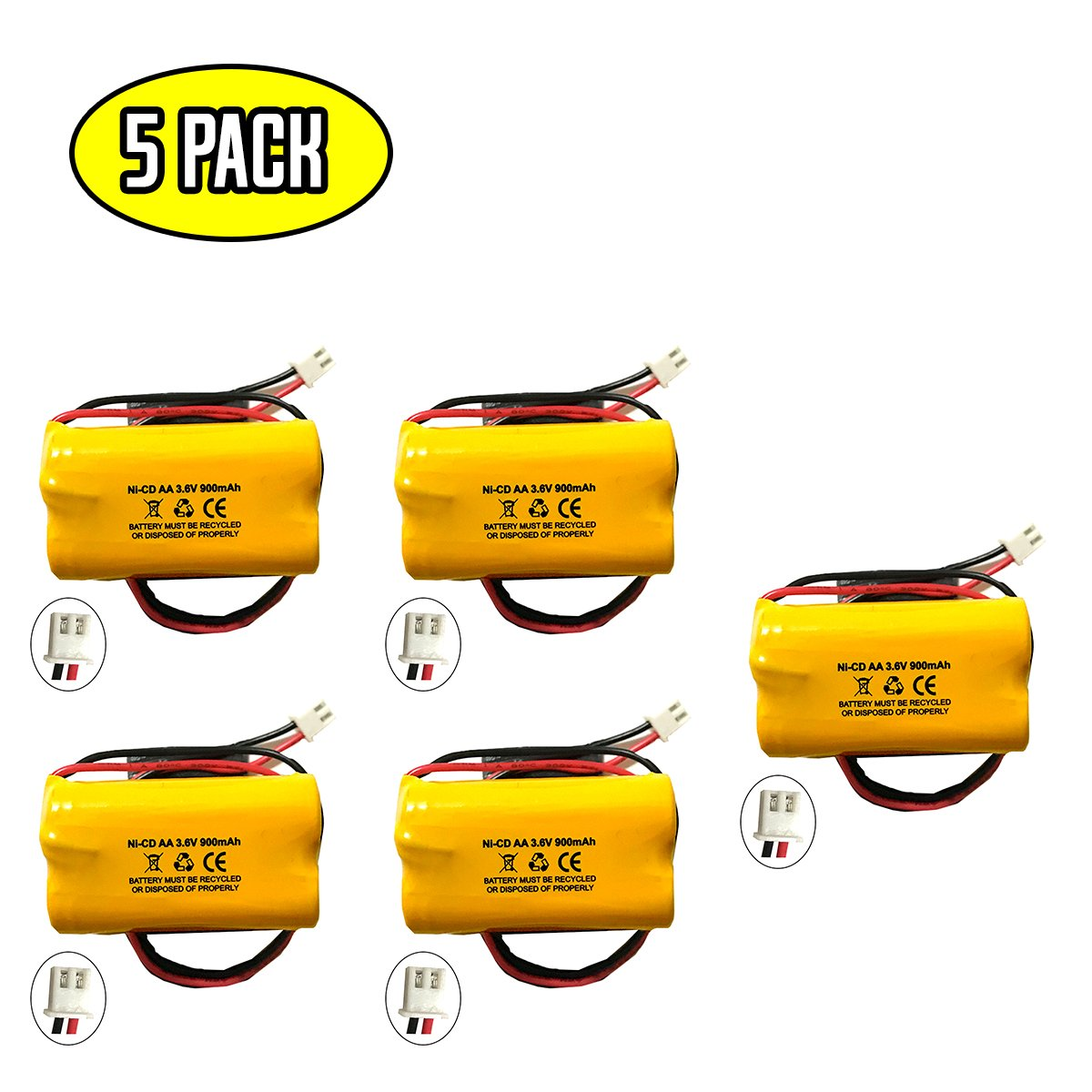 Lowes OSA230 3.6v 900mAh Battery Replacement Exit Sign Emergency Light NiCad Unitech 6200RP Lowes 253799 Unitech AA900MAH 6200-RP Unitech LEDR-1