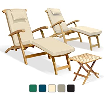 jati two serenity outdoor wooden teak steamer chairs with cushions