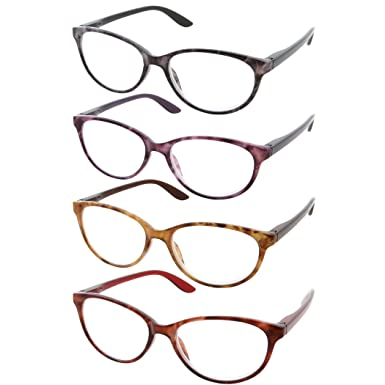 91b233a1f384 4 Pack Womens High Magnification Power Spring Hinge Reading Glasses Cateye  Readers 4.00-6.00 (