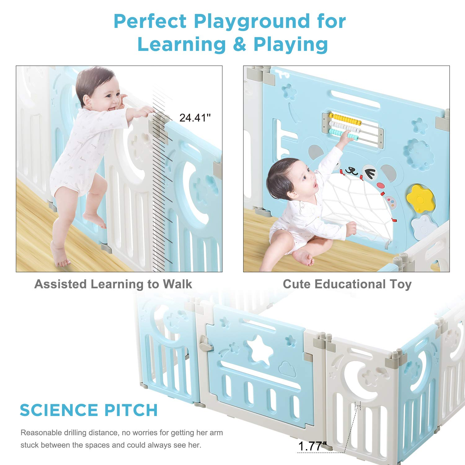 Dripex Upgrade 14-Panel Foldable Kids Activity Centre Safety Play Yard Home Indoor Outdoor Baby Fence Play Pen NO Gaps with Gate for Baby Boys Girls Toddlers Baby Playpen 14 Panel - Blue + White