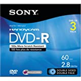 Sony 3DMR60DSR1HC 3-Pack 8cm DVD-R Double Sided with Hangtab