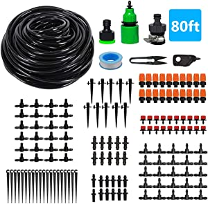 Drip Irrigation,Garden Irrigation System,DIY Plant Watering System,Distribution Tubing Hose,Saving Water Kit Accessories,Automatic Irrigation Equipment Set for Garden Greenhouse,Patio,Lawn (80ft)