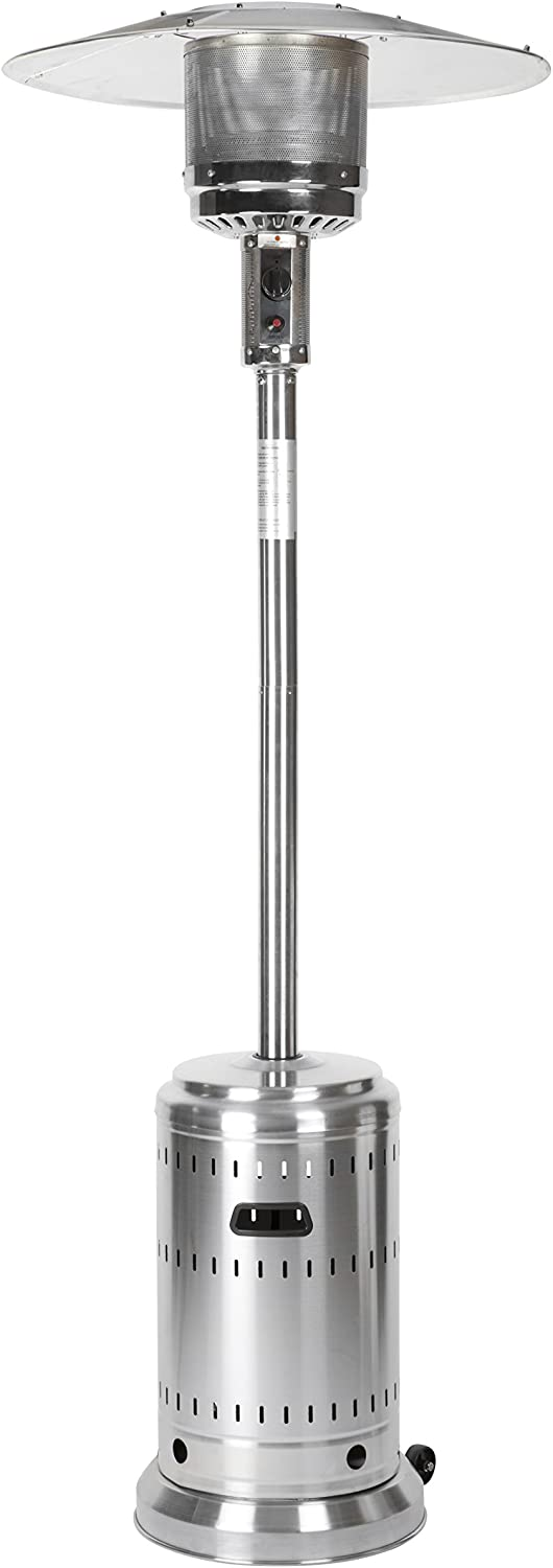 Basics Outdoor Patio Heater with Wheels, Propane 46, 000 BTU, Commercial & Residential - Stainless Steel : Garden & Outdoor