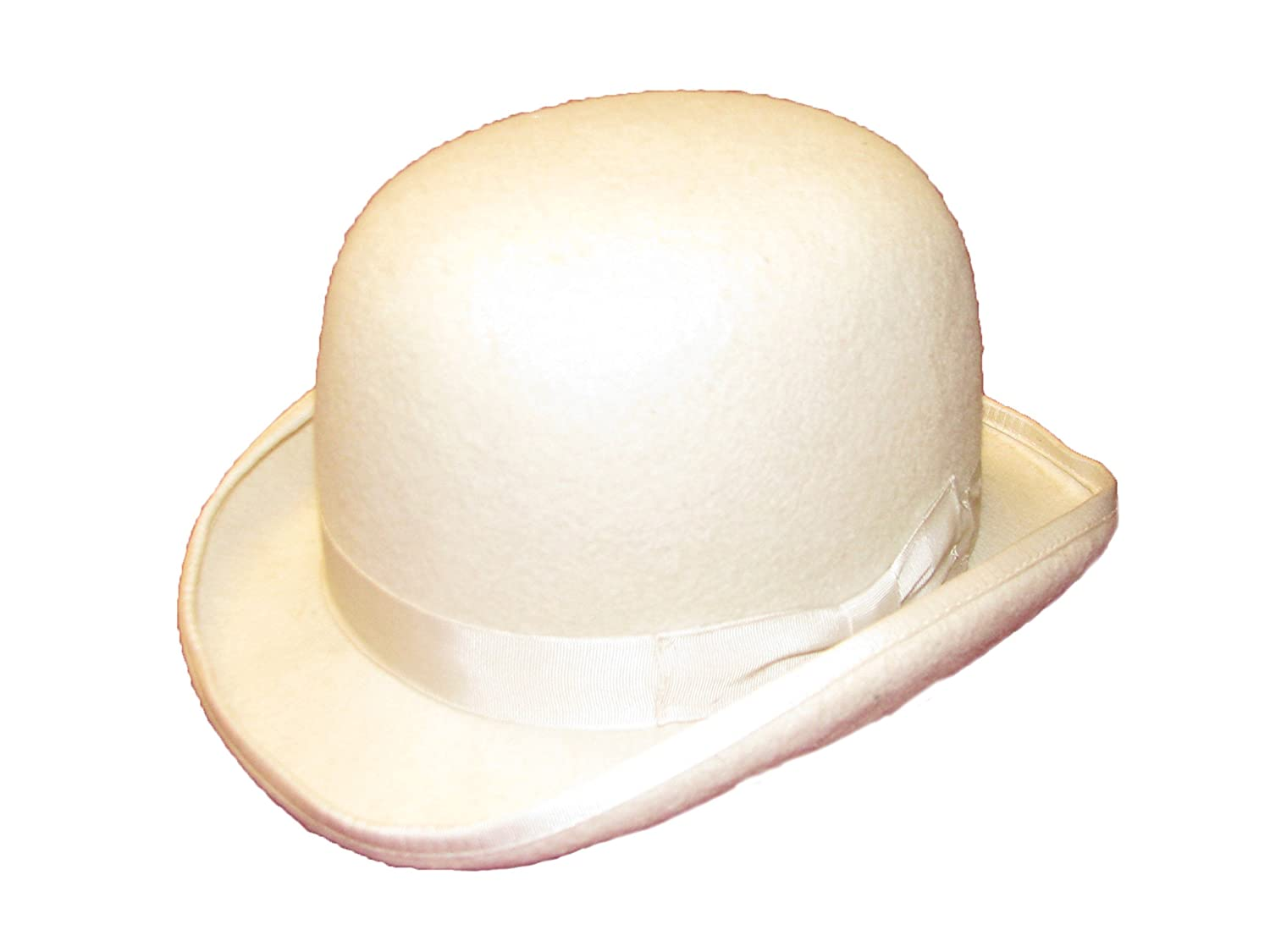 Wool Hand Made Quality Round Top Hard Bowler Hat in Off White with Satin Lining