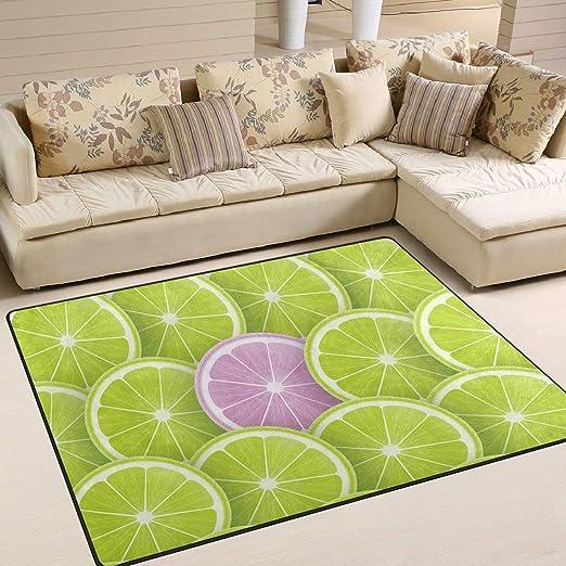 Amazon.com: Area Rugs Lime Lemon Slices Pattern Green Purple