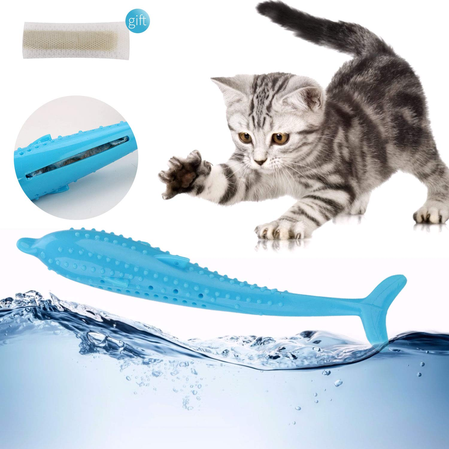 Legendog Pet Toy Creative Silicone Fish Shape Cat Toothbrush Cat Teething Toy with Catnip