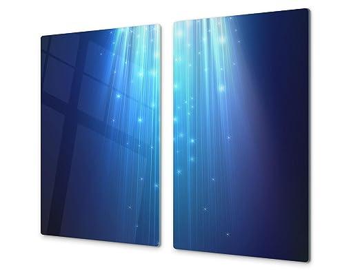 Tabla de cortar decorativa de cristal templado y cubre vitro – Dos en Uno – Resistente a golpes y arañazos – UNA PIEZA (60 x 52 cm) o DOS PIEZAS (30 x ...