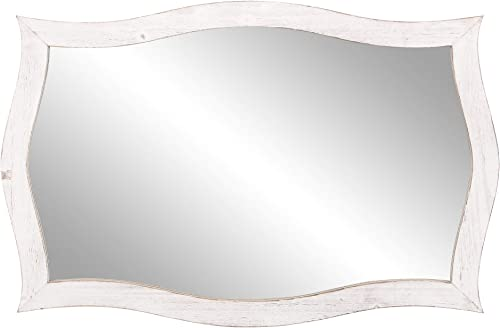 Patton Wall Decor 25×36 Whitewash Scallop Framed Accent Wall Mounted Mirrors, White