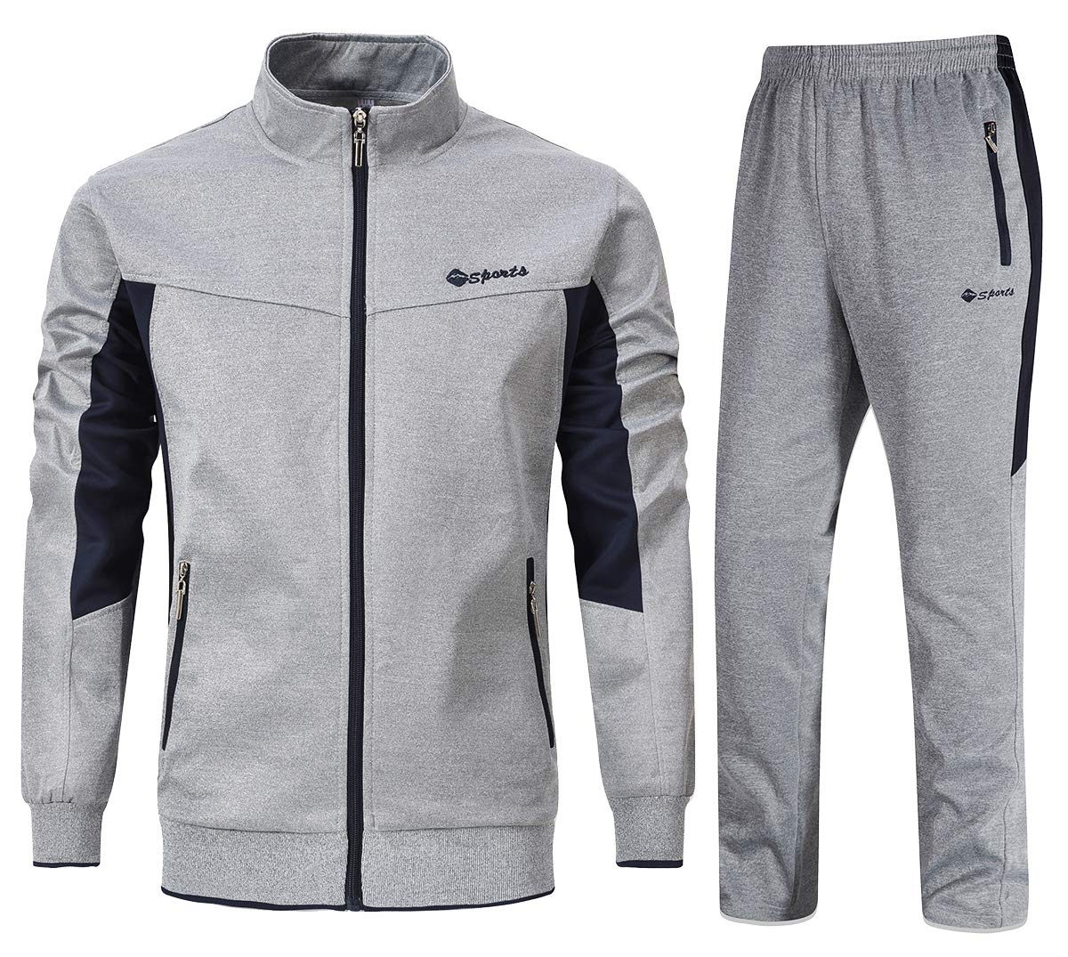 YSENTO Mens Sweat Suits 2 Pieces Full Zip Workout Jogging Sports Tracksuits Grey L by YSENTO