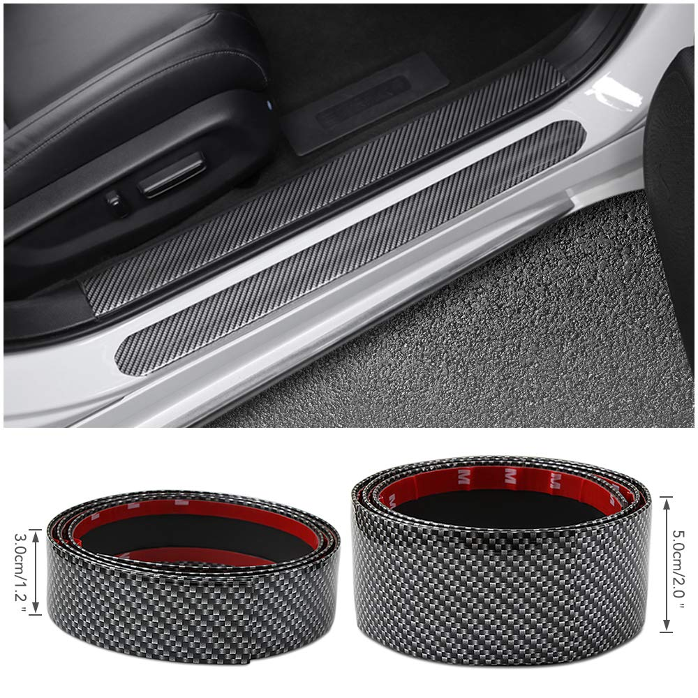 5cm x1Meters Car Stickers 5D Carbon Fiber Rubber Styling Door Sill//Front Rear Bumper Guard Protector Goods Accessories Chompoo
